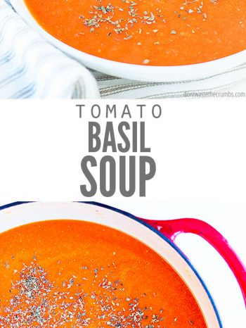 This yummy and easy tomato basil soup is a winter soup must!
