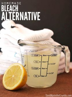Homemade Bleach Alternative recipe that uses all natural ingredients found in your home and costs 1/3 less than store-bought. Plus it works great too! Also try using my Homemade Laundry Detergent which is perfect for sensitive skin!