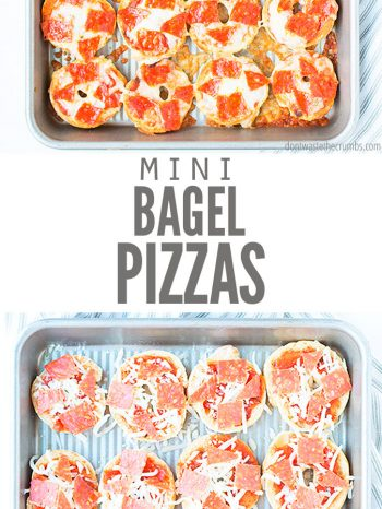 These Homemade Pizza Bagel Bites are super easy to make & taste much better than store-bought! Made with just 5 simple ingredients. They're perfect for snacks, or as a main meal paired with a Kale Caesar Salad!