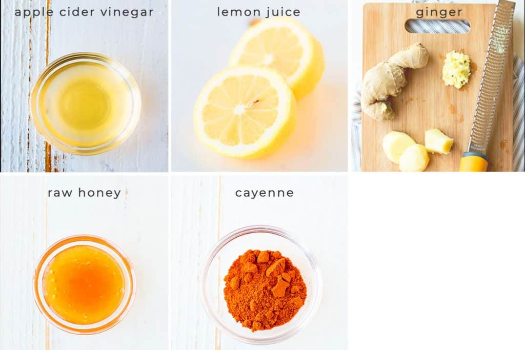 You only need 5 ingredients for this apple cider vinegar detox. Apple cider vinegar, lemon juice, ginger, raw honey, and cayenne. That's it!