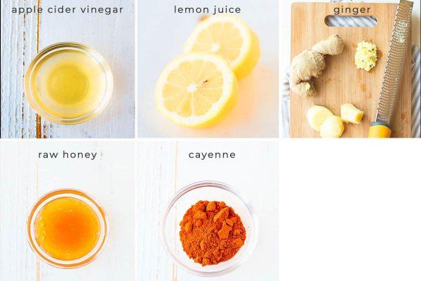 Image containing recipe ingredients apple cider vinegar, lemon juice, ginger, raw honey, cayenne.