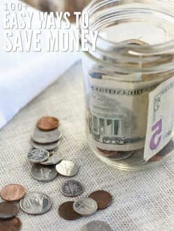 "A jar on a table with paper bills rolled inside. Coins are spread out in the table. The texts says, ""Ways to Save Money."""