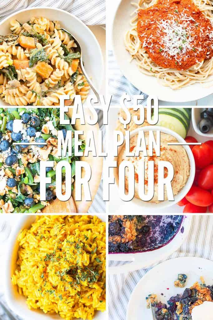 $50 a week meal plan for a family of four! Seasonal real food menu covers breakfasts, lunches, and dinners. Plus, how to use leftovers! It's frugal, healthy, and delicious!