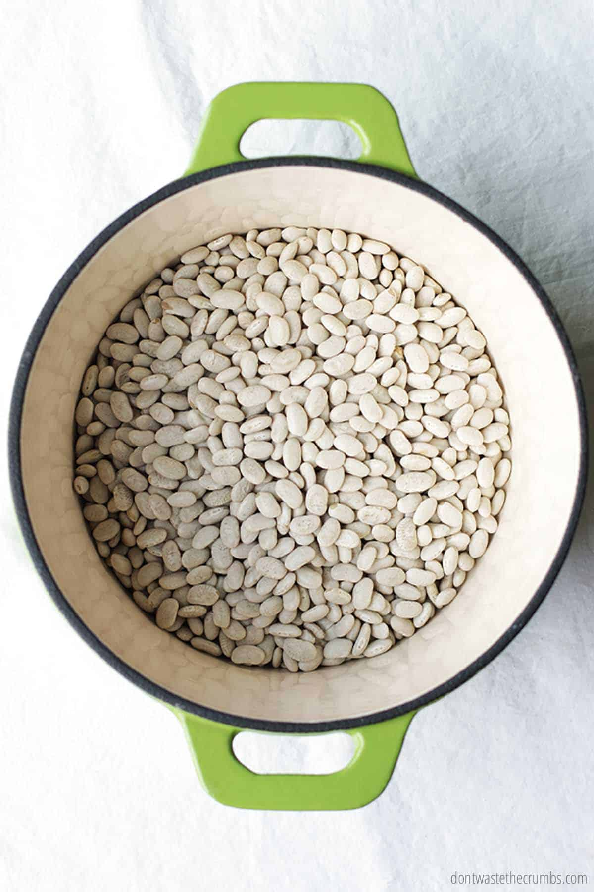 Several cups of dried white beans ready to be soaked inside of a large Dutch oven pot with green handles.
