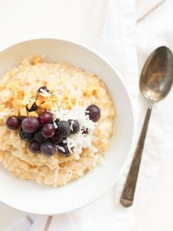 You can top your homemade instant pot oatmeal with fresh fruit such as blueberries!