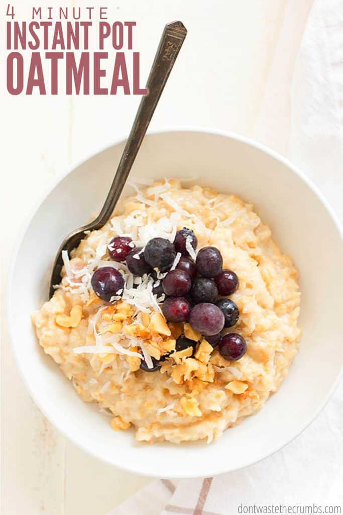 Oatmeal for breakfast is quick and easy, but Instant Pot oatmeal is even FASTER! Serve with seasonal fruit or the best scrambled eggs and breakfast is done!