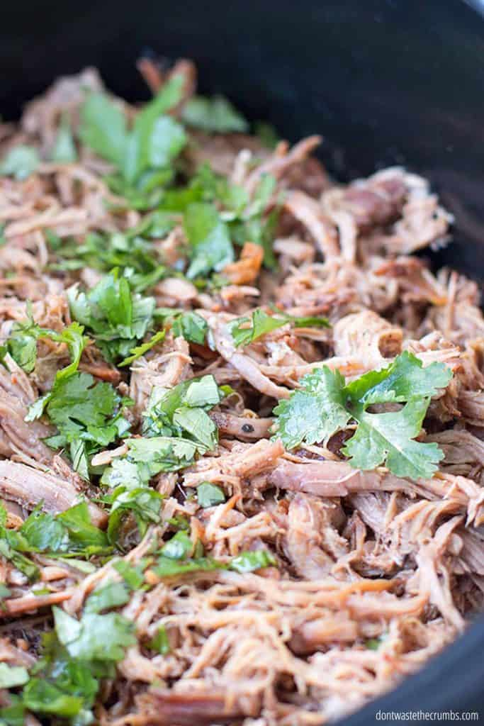 This slow cooker carnitas dish is easy and budget friendly!