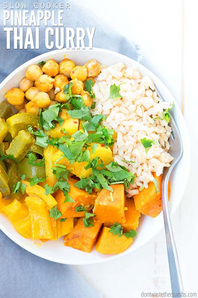 This slow cooker Thai pineapple vegetarian curry is loaded with vegetables and bursting with flavor. When you need something easy without the meat, this fits the bill! (Plus it's freezer-friendly!)