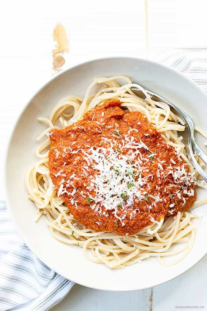 This yummy spaghetti is ready to be served! It is in our weekly meal plan for a family of four, $50 for the week. Topped with our homemade 15 minute spaghetti sauce recipe.