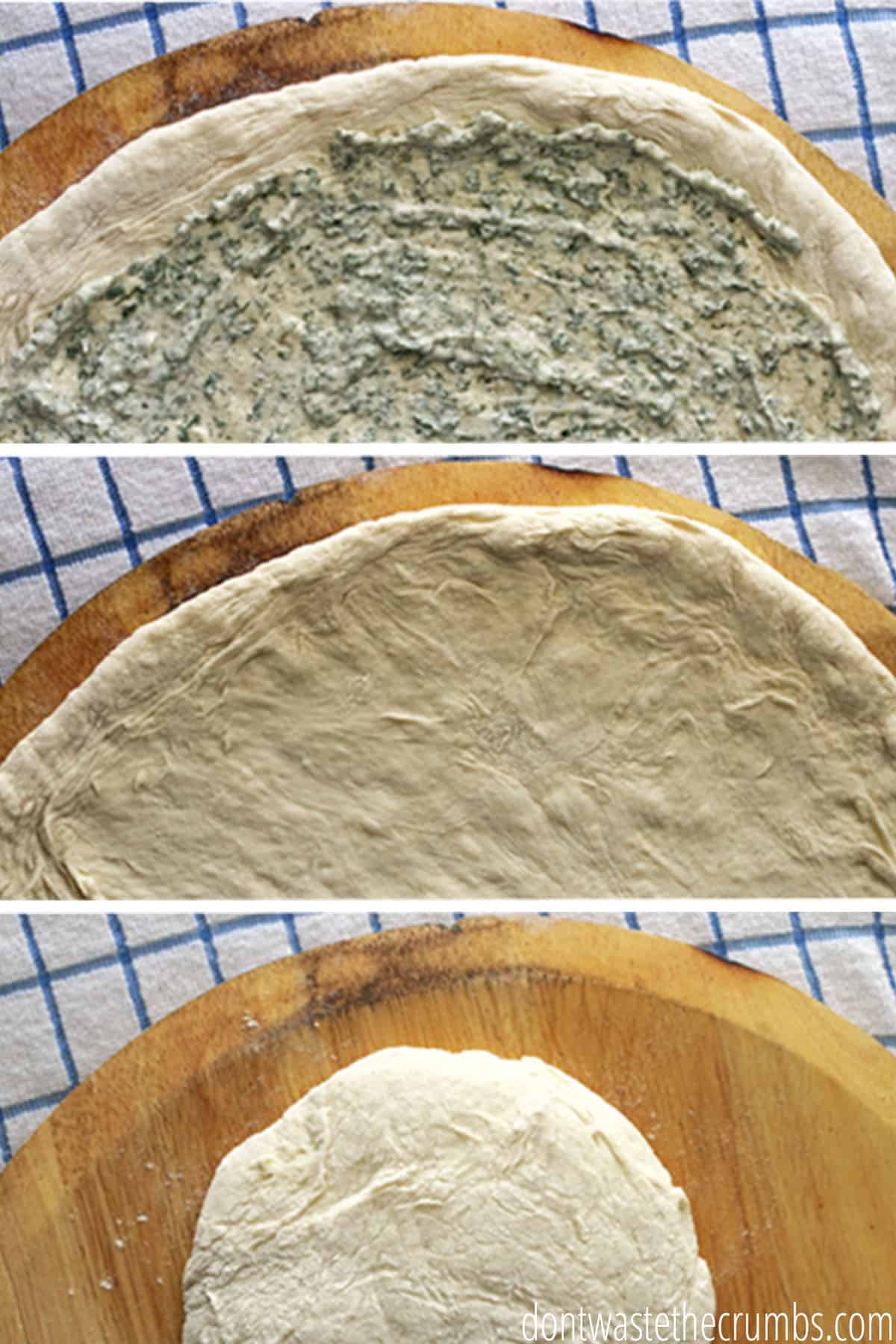 Rolled pizza dough on a pizza stone with homemade blue cheese dressing spread all over.