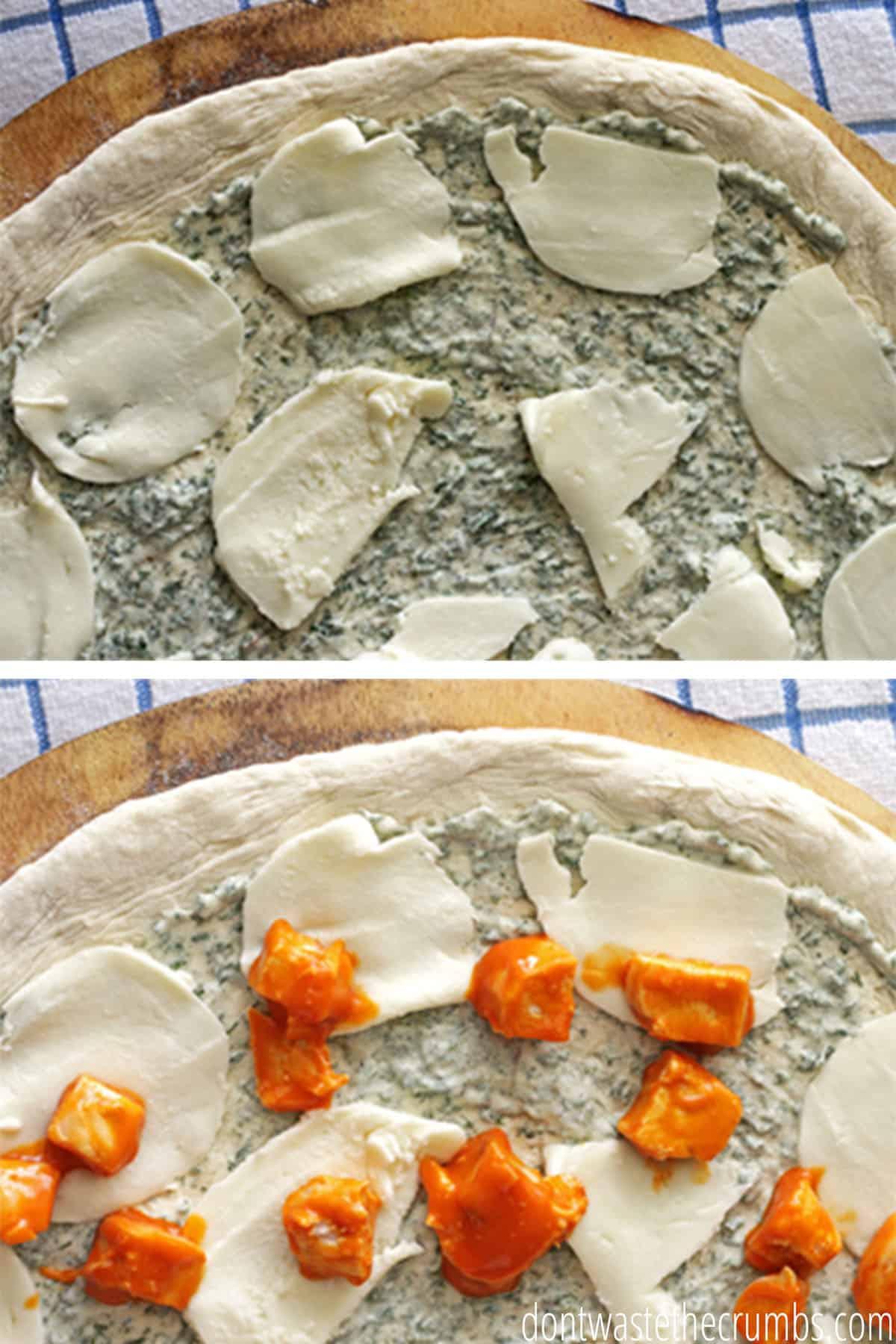 Homemade pizza dough with blue cheese dressing, mozzarella cheese, and  buffalo chicken cubes!