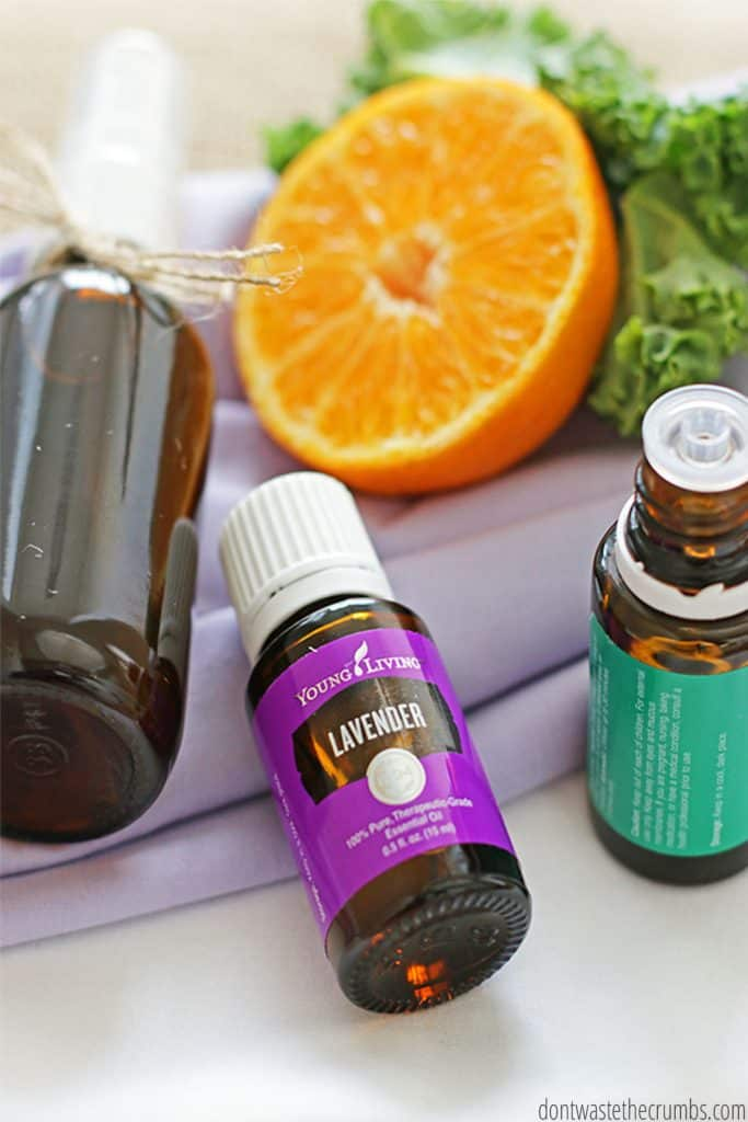 Homemade linen spray made with essential oils and orange if you'd like.