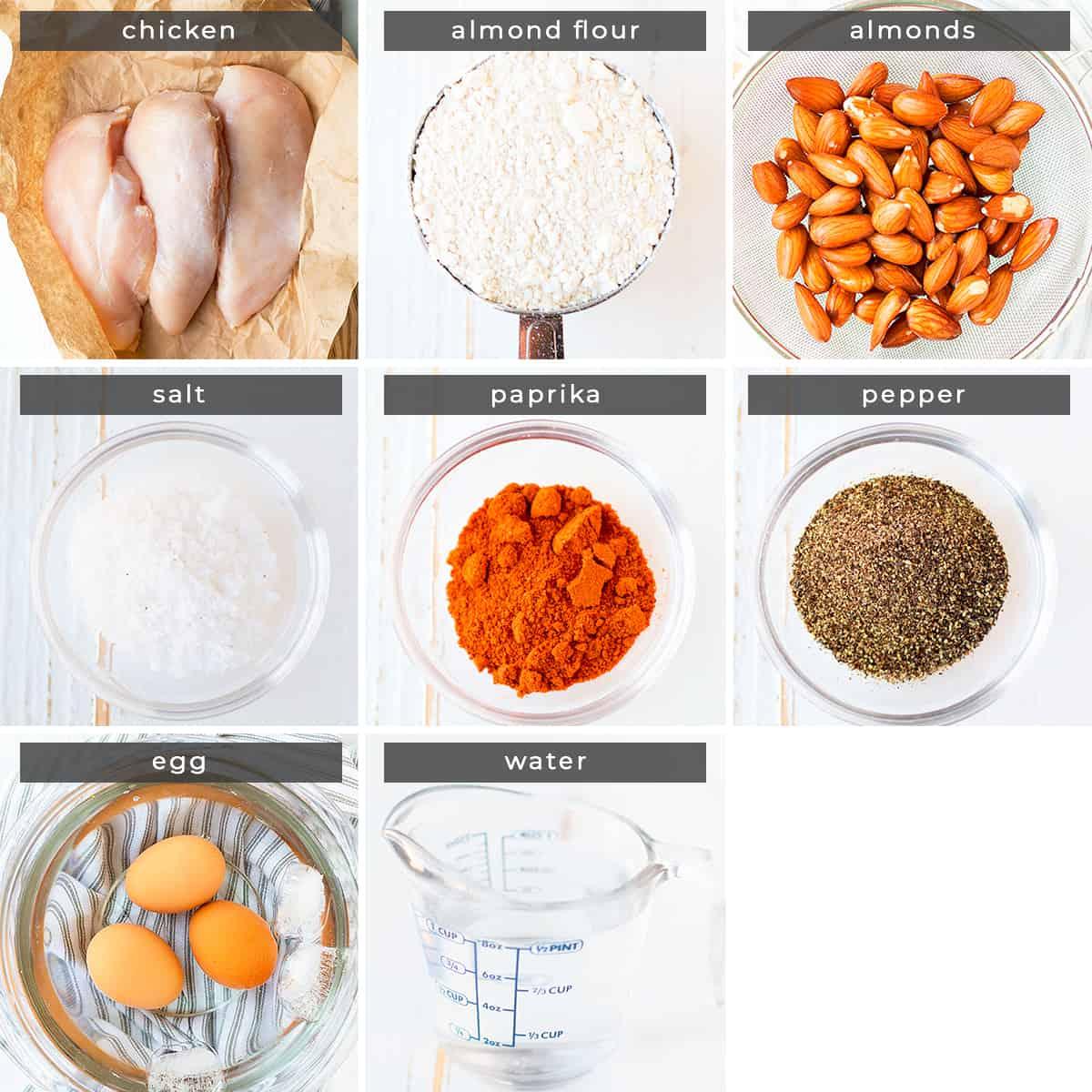 Image containing recipe ingredients chicken, almond flour, almonds, salt, paprika, pepper, egg, water.