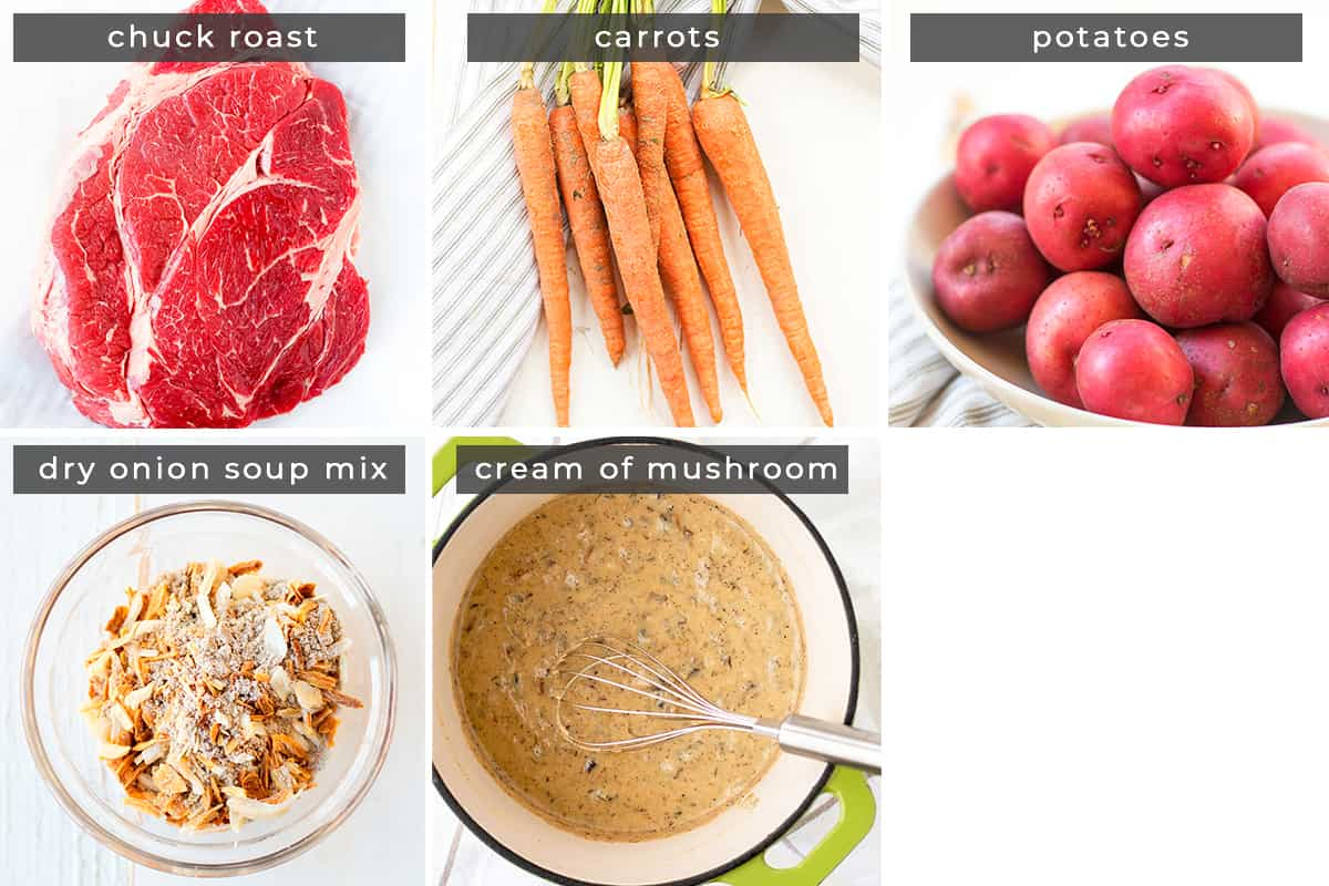 Image of recipe ingredients beef roast, carrots, potatoes, dry onion soup mix, and cream of mushroom soup.
