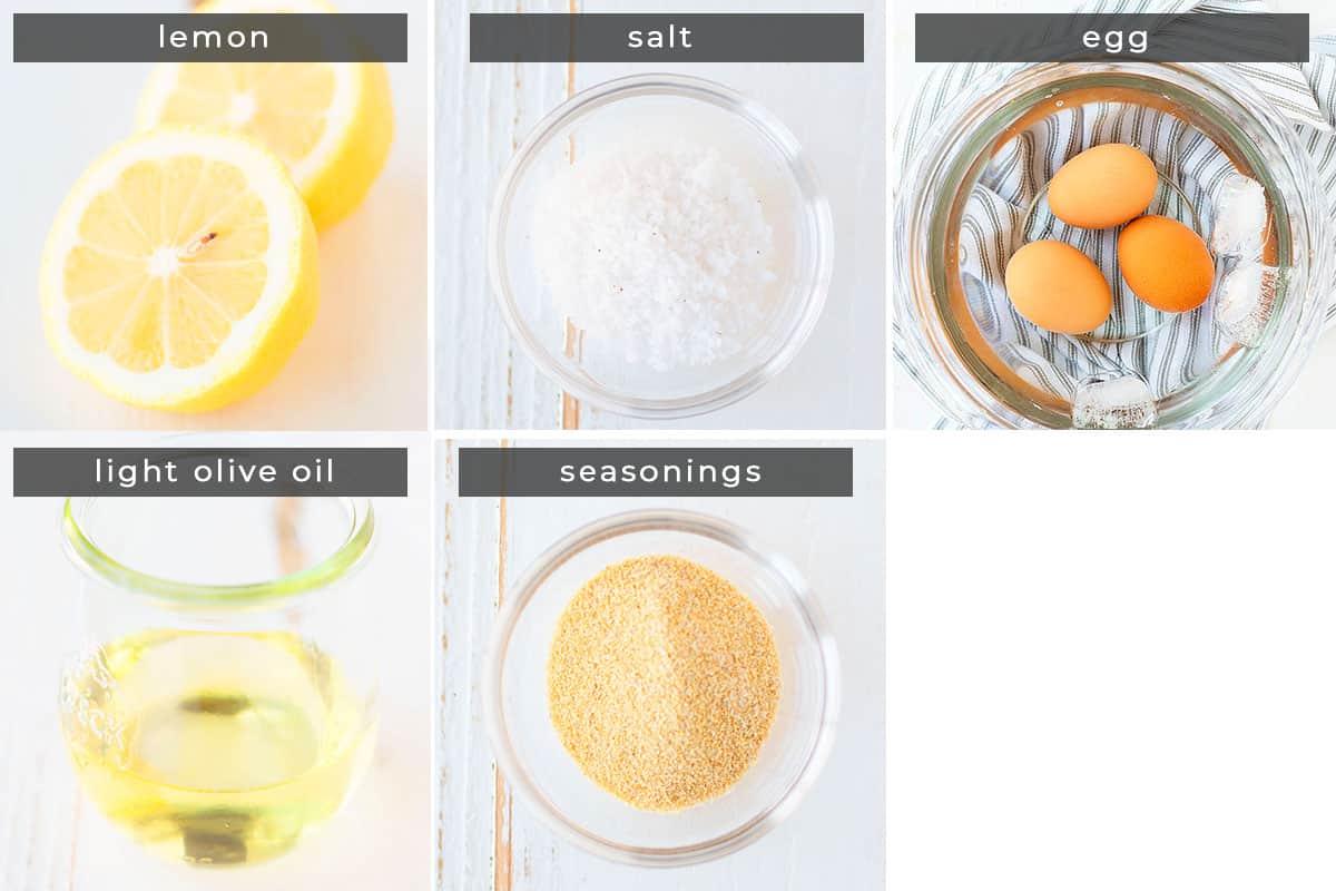 Image containing recipe ingrecdients lemon, salt, eggs, light olive oil, seasonings.