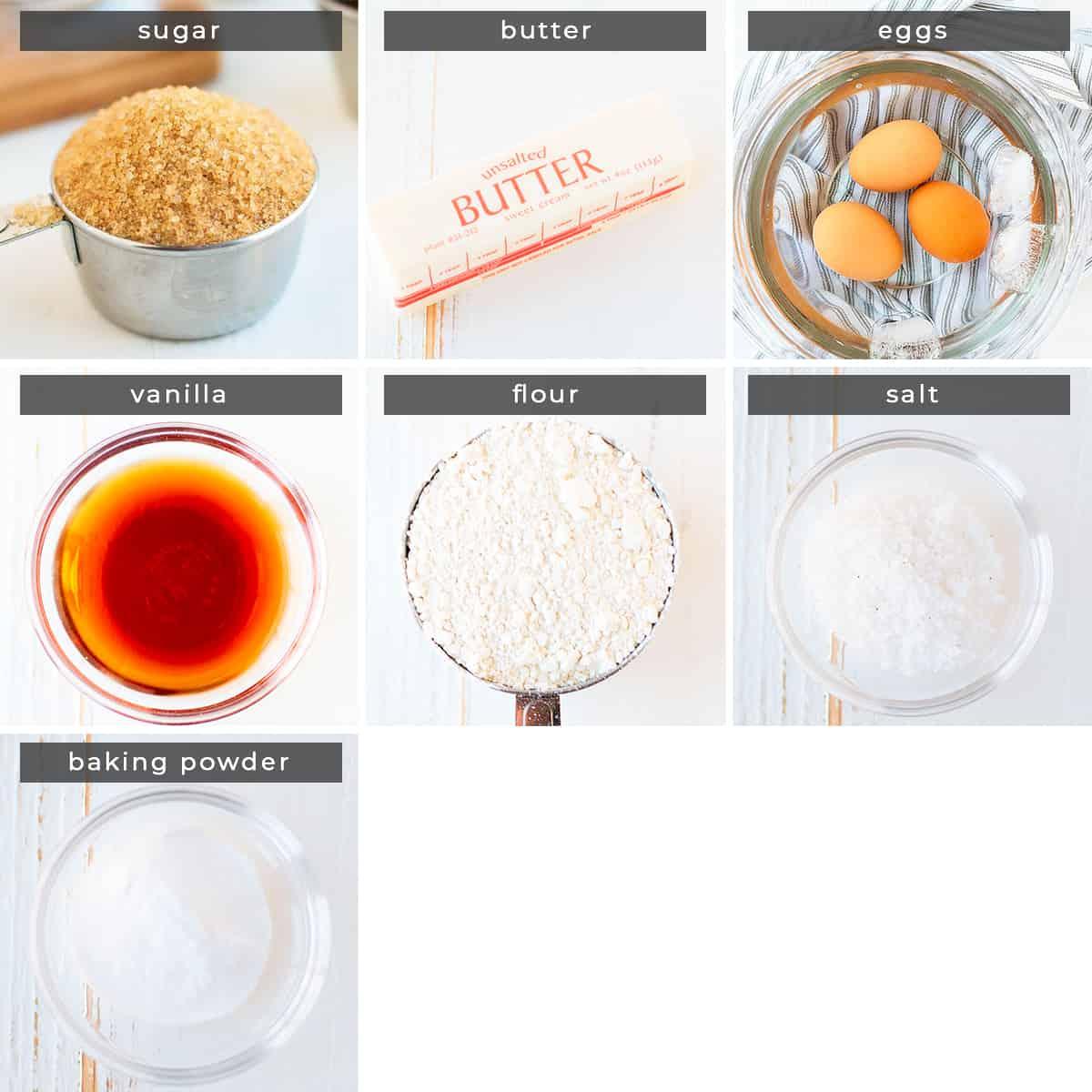 Image containing recipe ingredients sugar, butter, eggs, vanilla, flour, salt, baking powder.