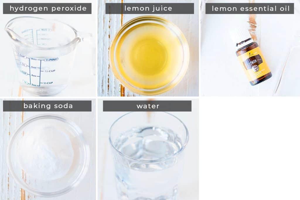 Image containing recipe ingredients hydrogen peroxide, lemon juice, lemon essential oil, baking soda, water.