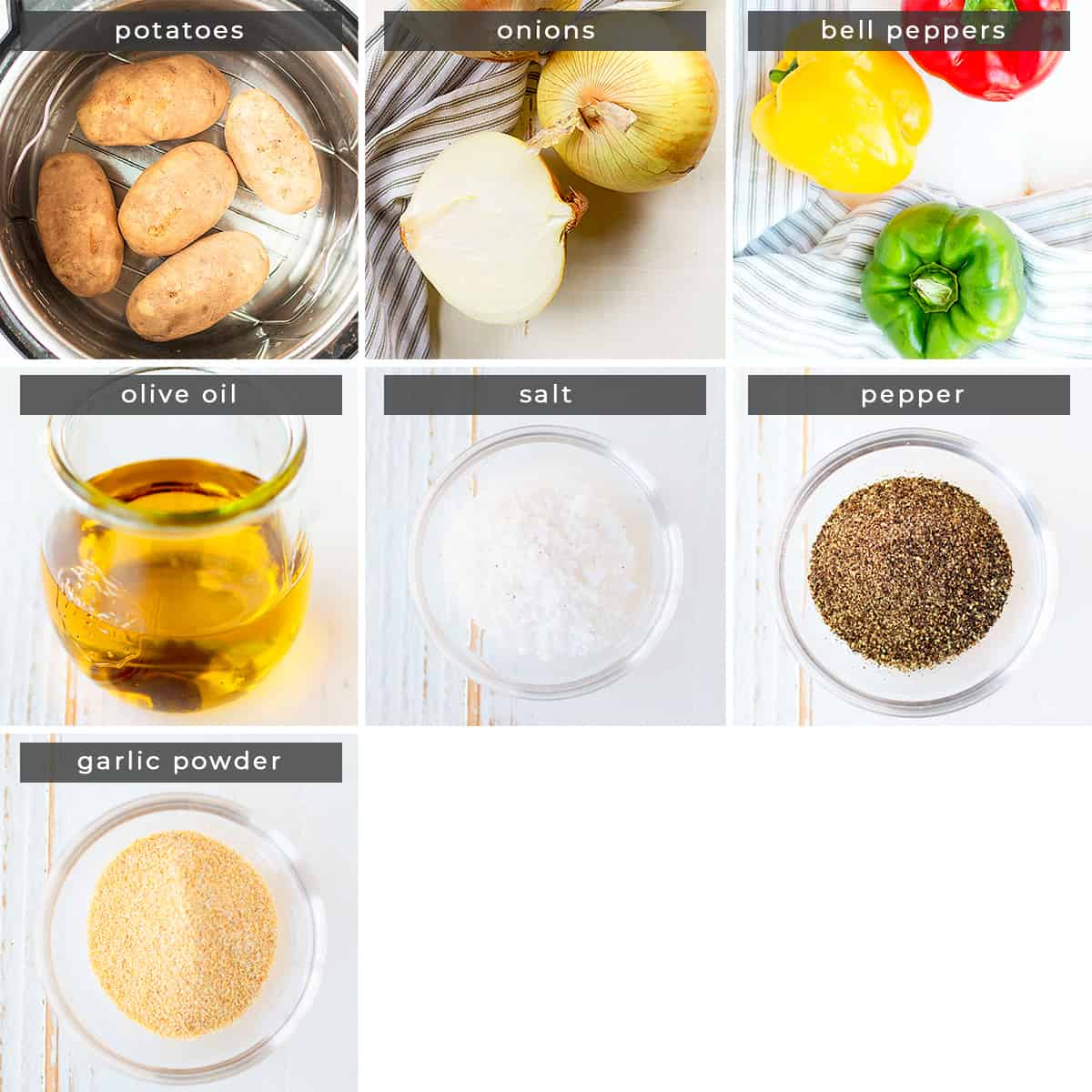 Image containing recipe ingredients potatoes, onions, bell peppers, olive oil, salt, pepper, garlic powder.