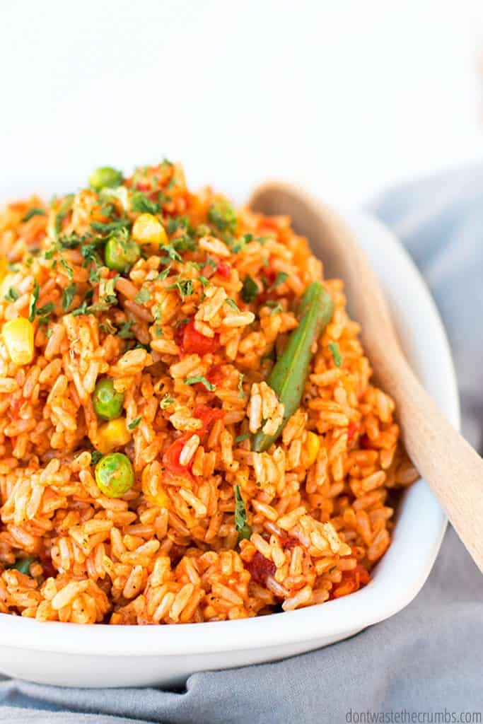 A bowl of Spanish rice is ready to be served.