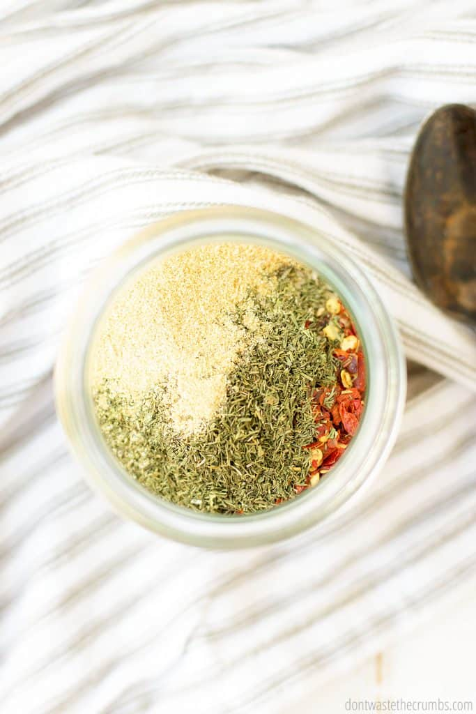 Montreal steak seasoning spices are all in a glass jar.