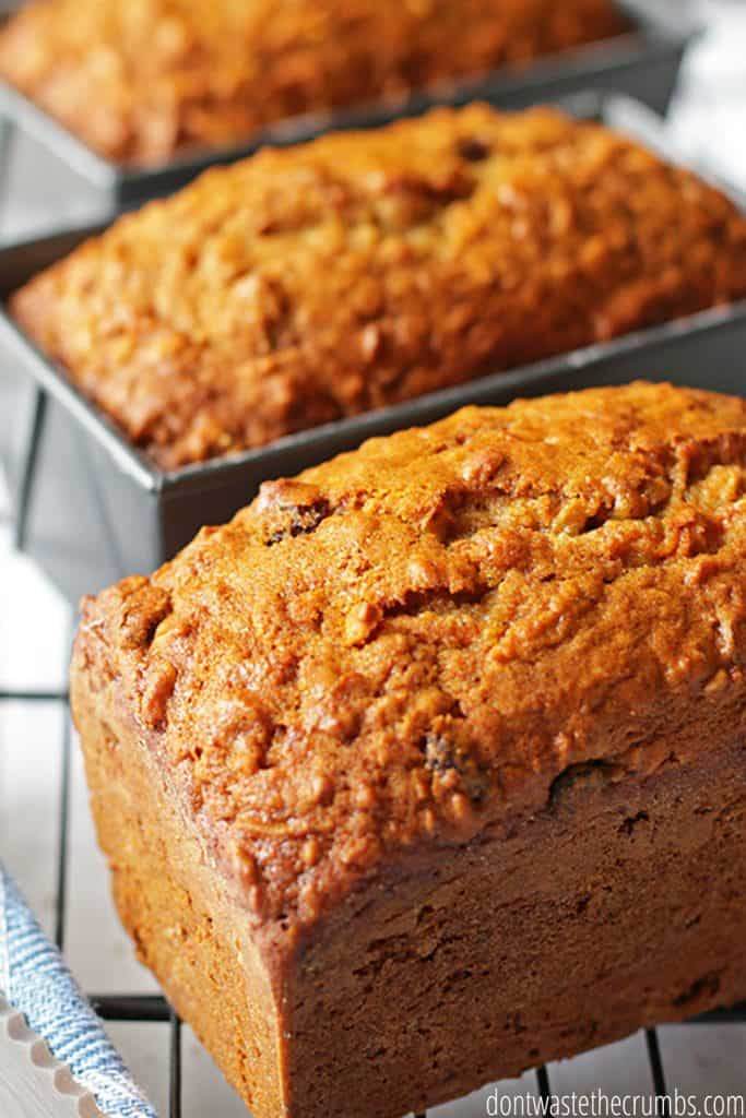 The crusts on these finished carrot bread loaves are browned and lumpy in texture, with small cracks on the flaky surface.