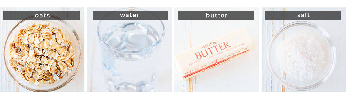 Image showing recipe ingredients, oats, water, butter, and salt.