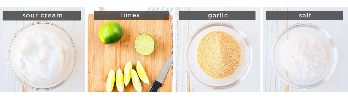 Image showing recipe ingredients. Sour cream, limes, garlic, and salt.