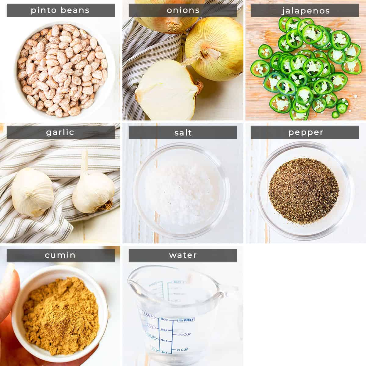 Image showing recipe ingredients pinto beans, onions, jalpenos, garlic, salt, pepper, cumin, and water.