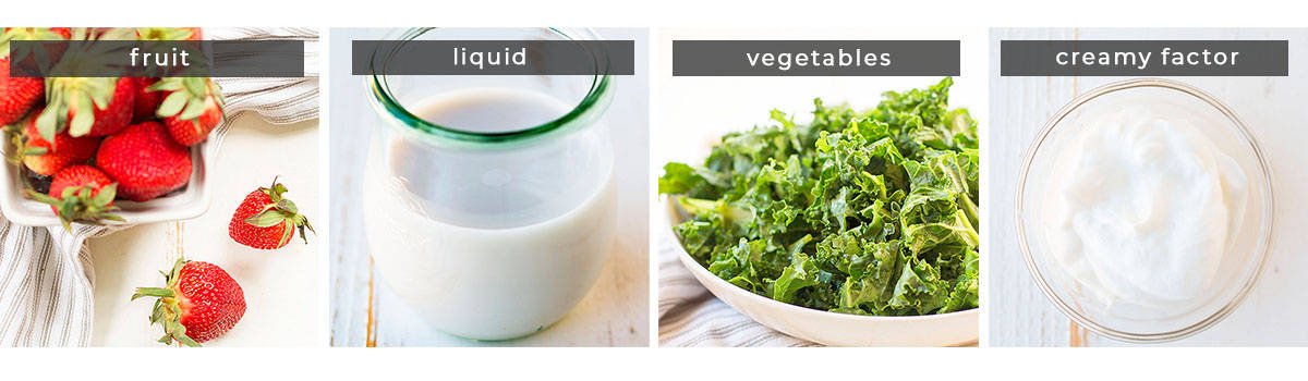 Image showing recipe ingredients fruit, liquid, vegetables, and creamy factor.