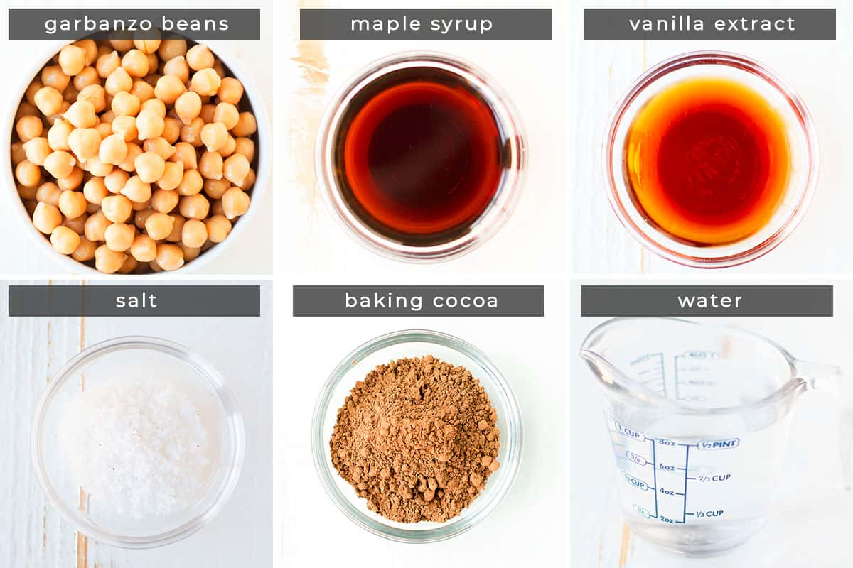 Image containing recipe ingredients garbanzo beans, maple syrup, vanilla extract, salt, baking cocoa, and water.