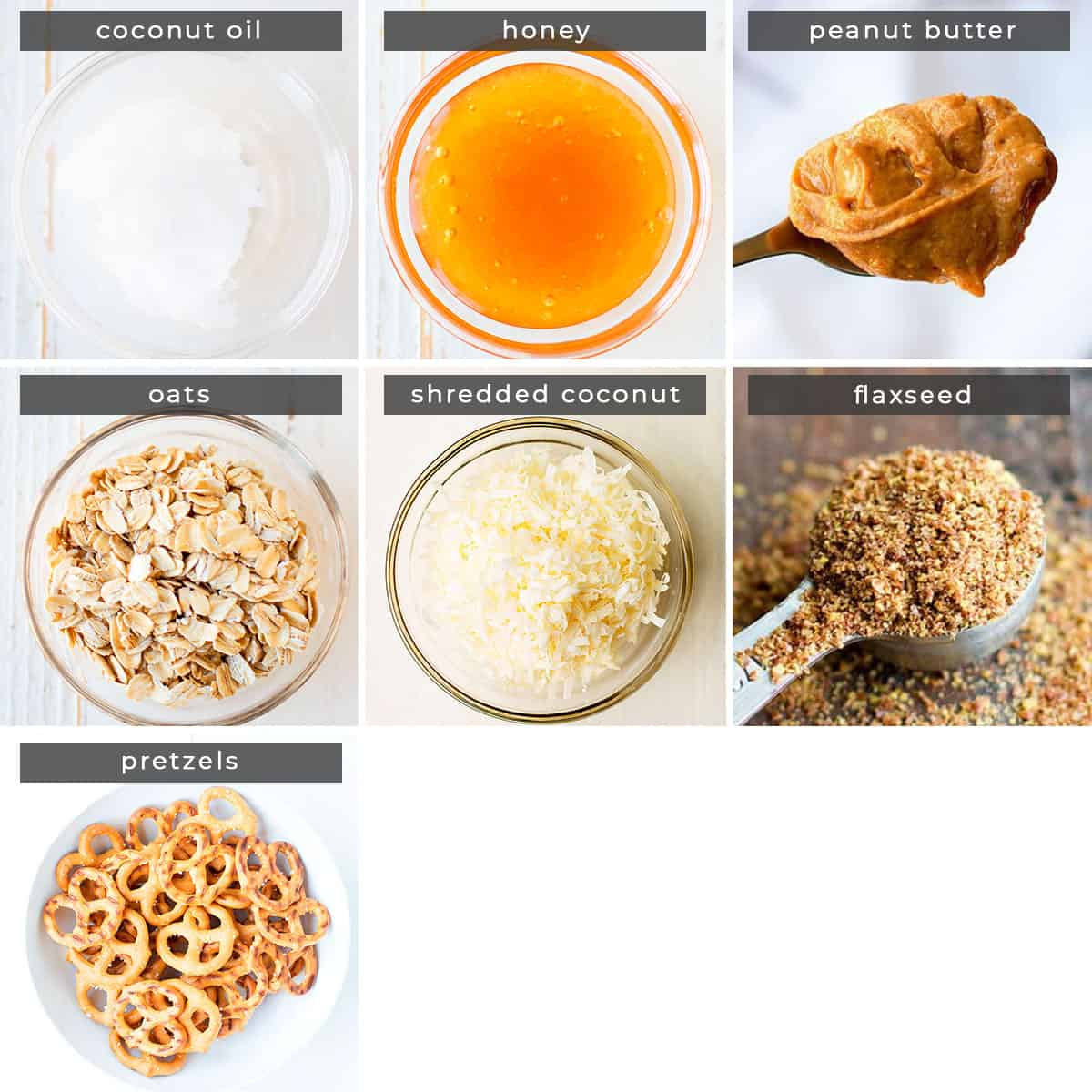 Image containing recipe ingredients coconut oil, honey, peanut butter, oats, shredded coconut, flaxseed, and pretzels.