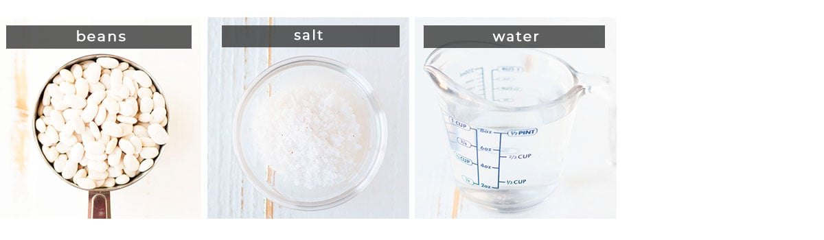 Image containing recipe ingredients beans, salt, and water.