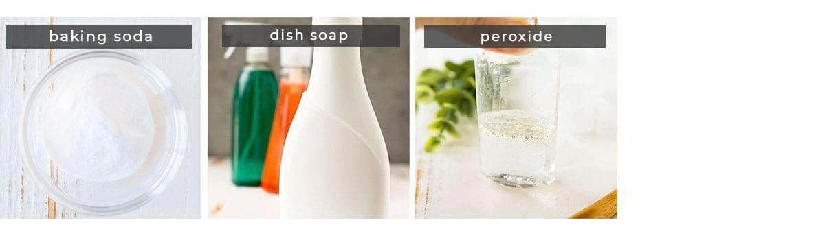 Image containing recipe ingredients baking soda, dish soap, peroxide.