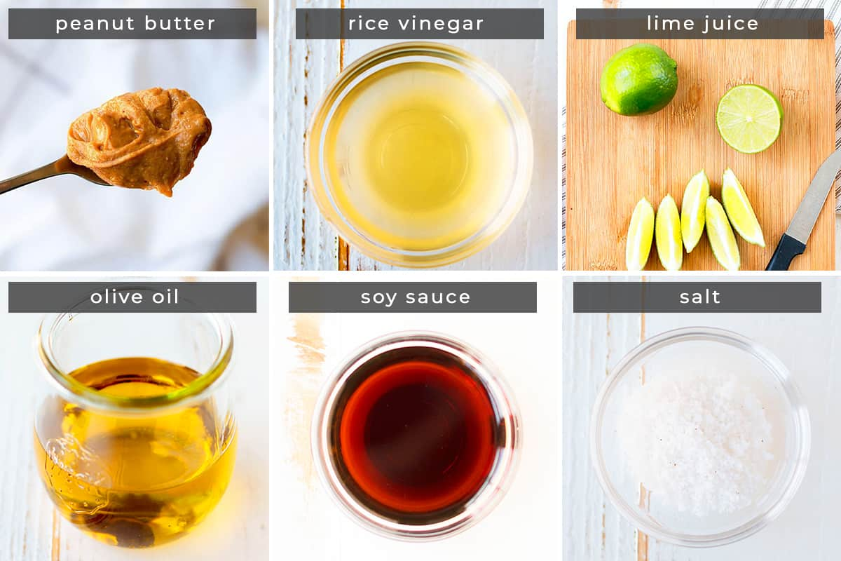 Image containing recipe ingredients peanut butter, rice vinegar, lime juice, olive oil, soy sauce, salt.