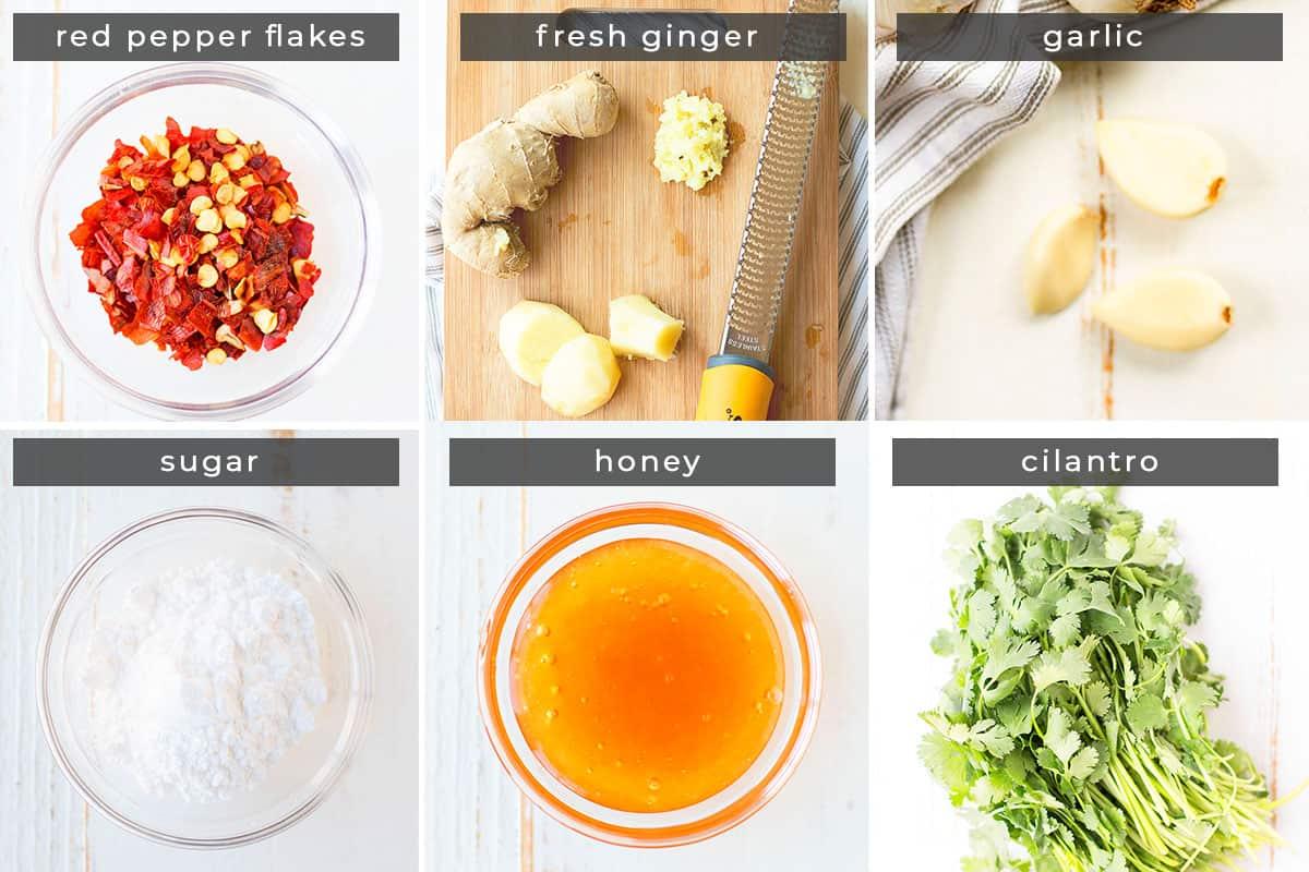Image containing recipe ingredients red pepper flakes, ginger, garlic, sugar, honey, cilantro.