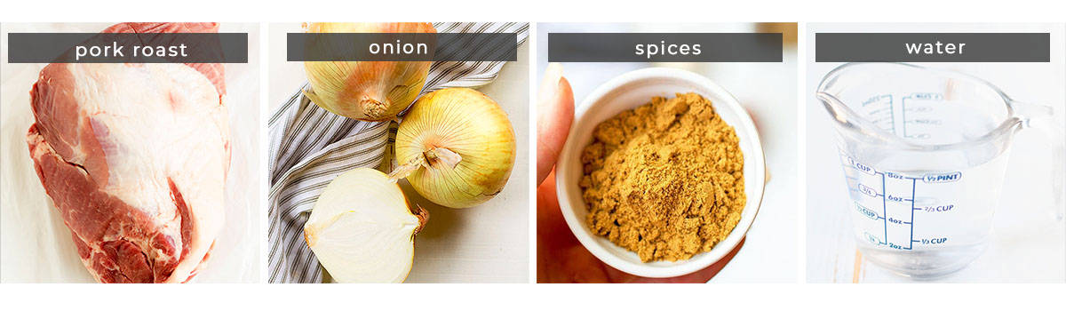 Image showing recipe ingredients pork roast, onion, spices, and water.