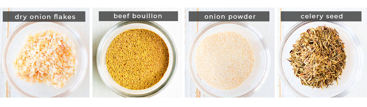 Image containing recipe ingredients dry onion flakes, beef bouillon, onion powder, celery seed.