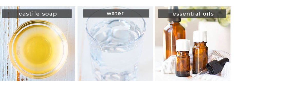 Image showing recipe ingredients castile soap, water, essential oils.