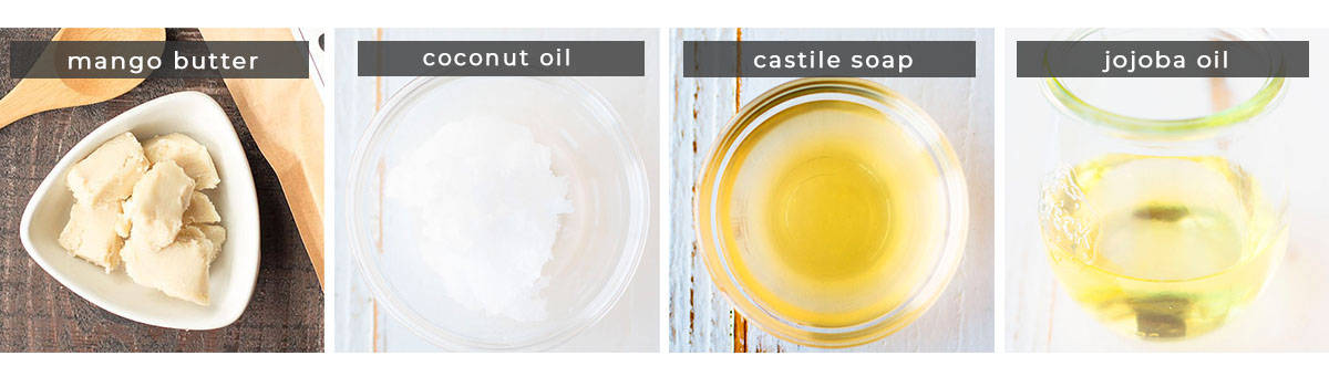 Image showing recipe ingredients mango butter, coconut oil, castile soap, and jojoba oil.