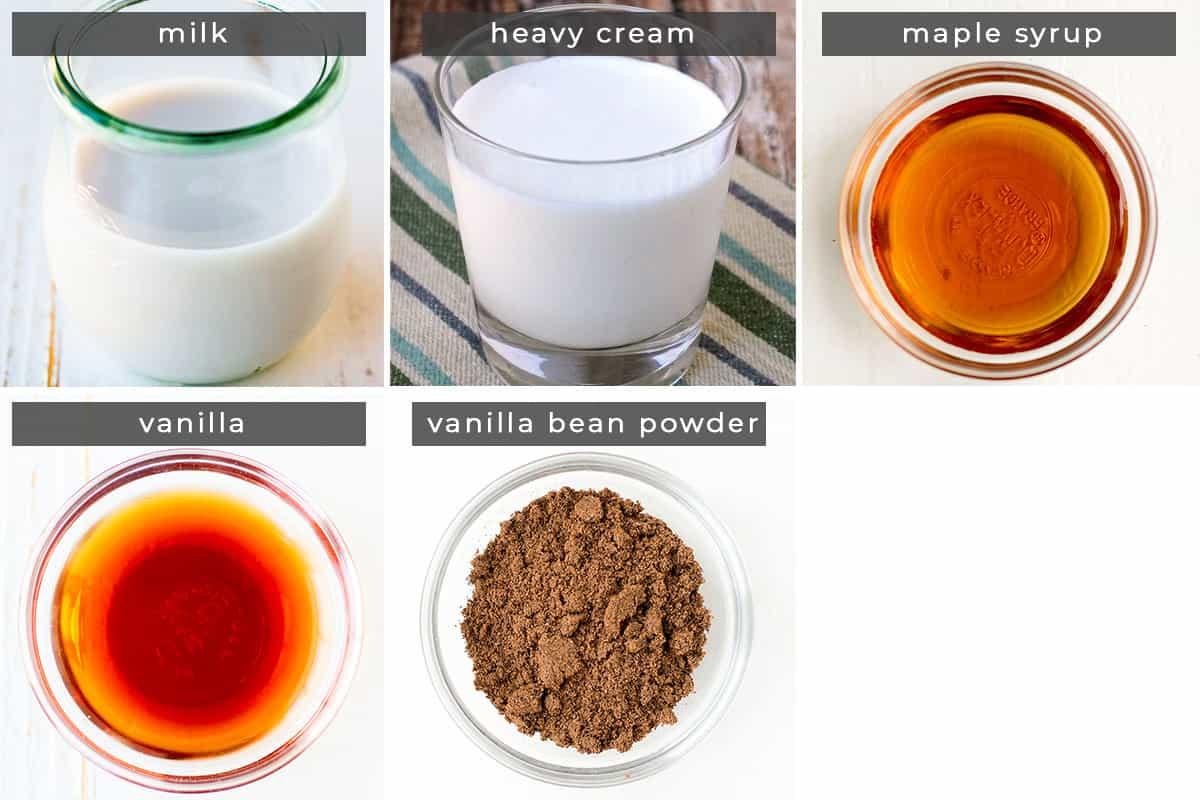 Image containing recipe ingredients milk, heavy cream, maple syrup, vanilla, and vanilla bean powder.