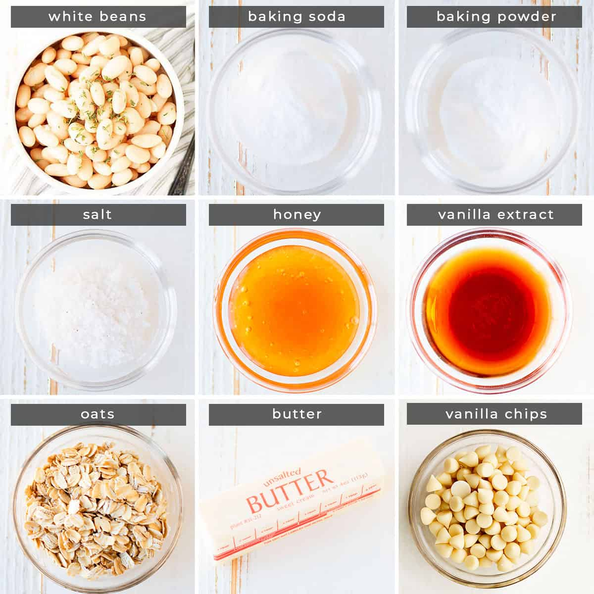 Image containing recipe ingredients white beans, baking soda, baking powder, salt, honey, vanilla extract, oats, butter, and vanilla chips.