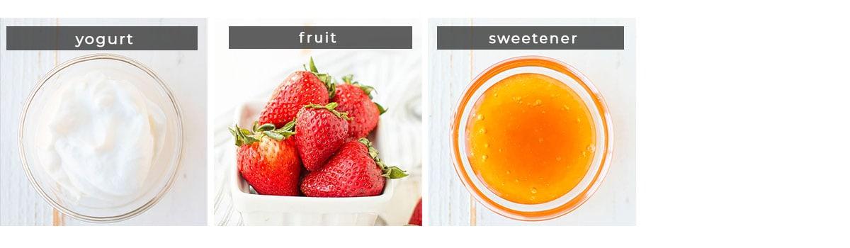 Image containing recipe ingredients yogurt, fruit, and sweetener.